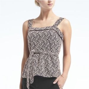 BANANA REPUBLIC Navy Blue Peplum Lace Tank Top